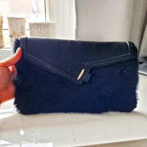 ELA Leather/Fur Clutch